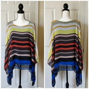 Saloos striped scarf top with built-in tank sz L